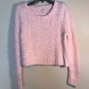 Pink Cropped Fuzzy Sweater